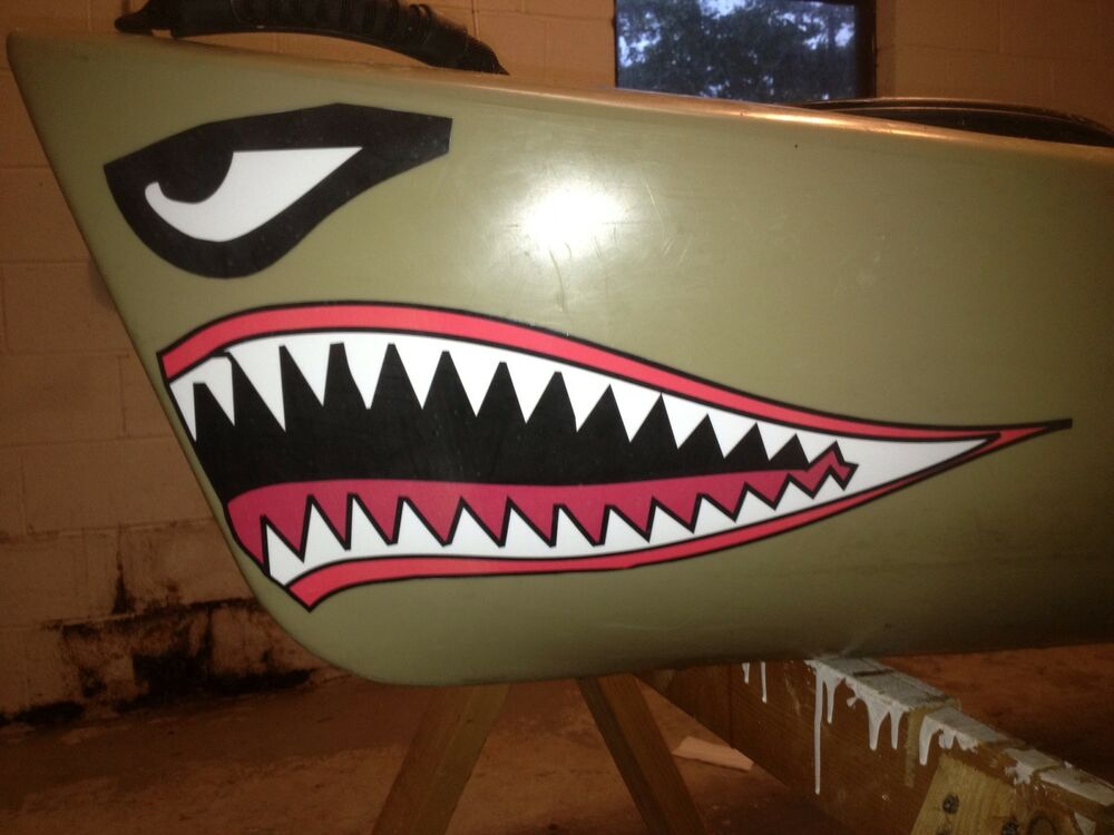 Kayak Canoe Shark Mouth Color Decal 7 Colors To Choose