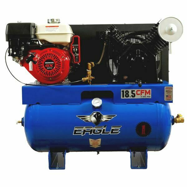 Eagle 9 hp 30 gallon two stage truck mount air compressor for Air compressor gas motor