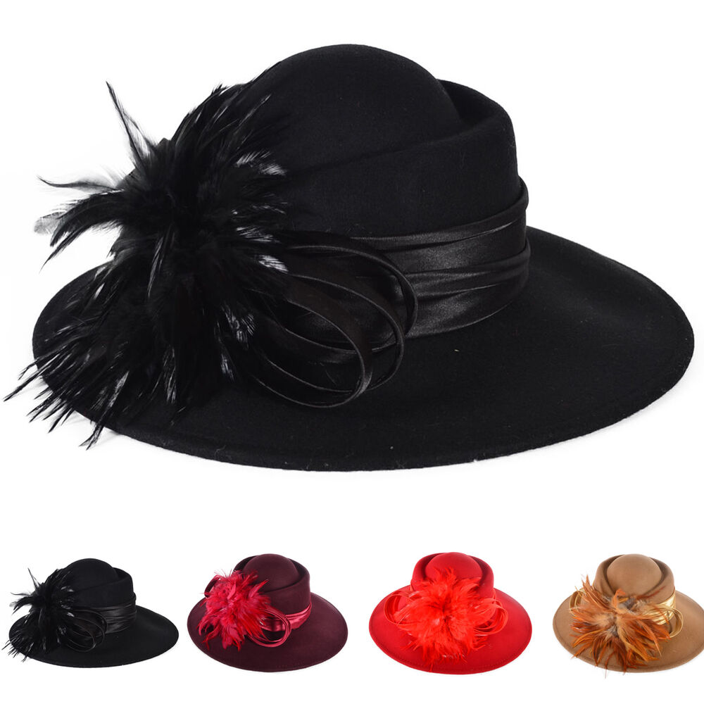 Elegant womens 100 wool feather cloche hat church dress for Dress hats for weddings