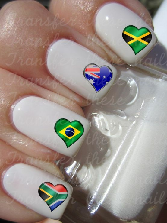 30 HEART FLAG NAIL ART WATER TRANSFERS JAMAICAN AUSTRALIAN BRAZILIAN ...