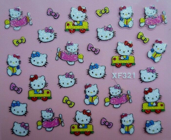 Cute Hello Kitty Nail Art Sticker Decal glitter 5 style to