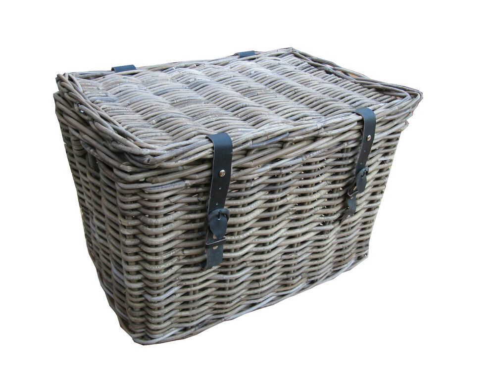 Wicker Toy Basket With Lid : Grey buff rattan wicker chest trunk storage basket large