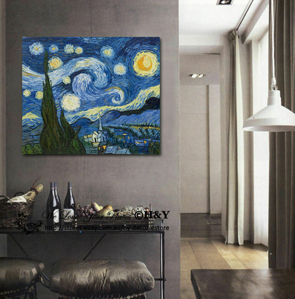 70x90x3cm van gogh starry night giclee canvas print wall art wall decor framed ebay. Black Bedroom Furniture Sets. Home Design Ideas