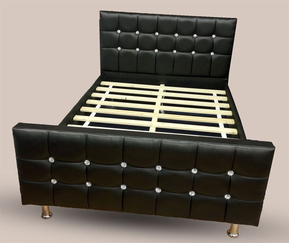 Cube Diamante Leather Bed With Crystal Diamonds Black 4ft6