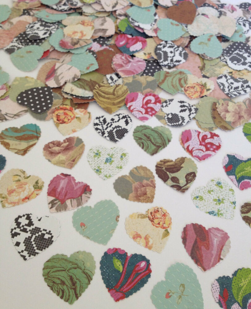 vintage shabby chic roses heart confetti scatters wedding. Black Bedroom Furniture Sets. Home Design Ideas