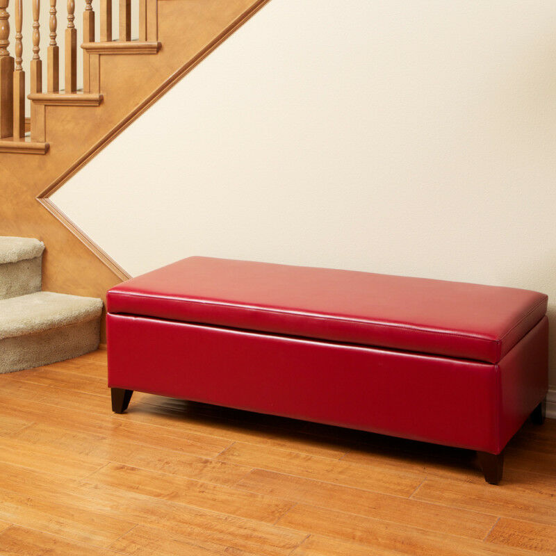 Living Room Red Leather Storage Ottoman Bench Ebay