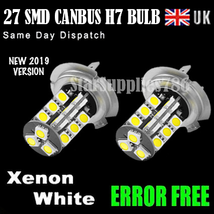 2x canbus h7 headlight bulb 27 smd led error free h7 fog. Black Bedroom Furniture Sets. Home Design Ideas