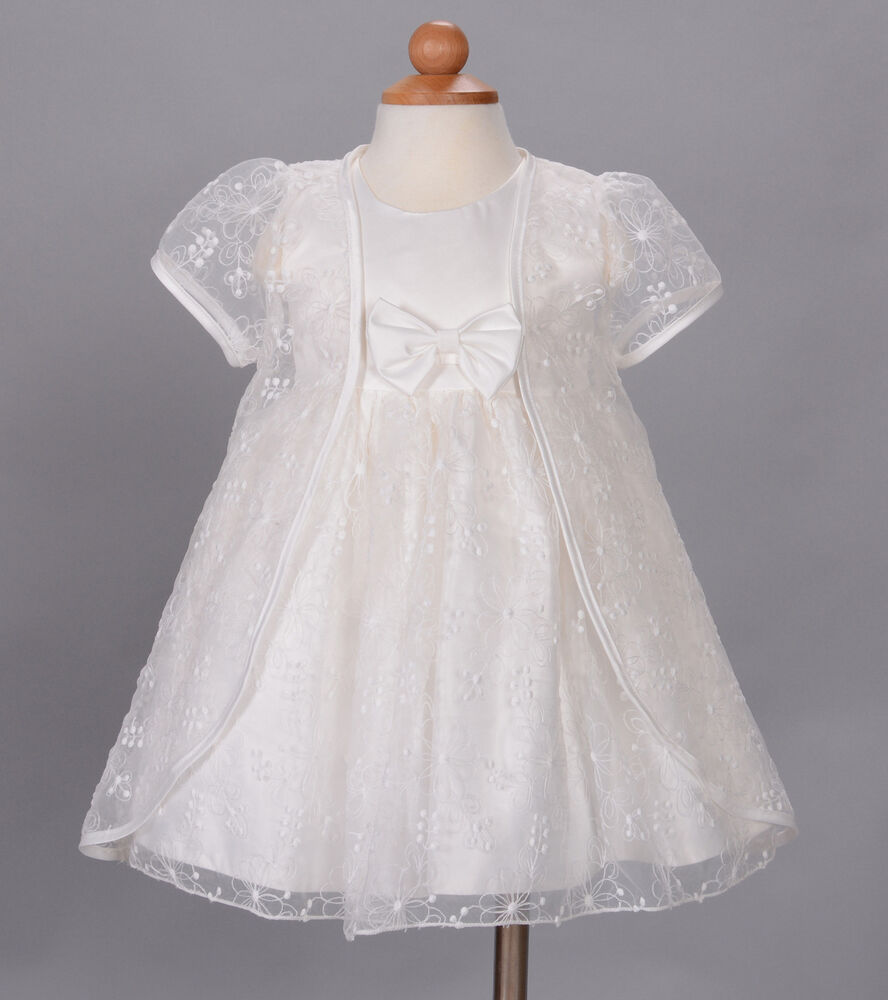 new baby christening wedding party dress and cape white