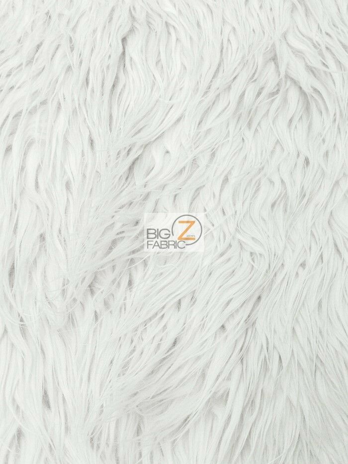 faux fake fur solid mongolian long pile fabric white 60 sold by the yard ebay. Black Bedroom Furniture Sets. Home Design Ideas