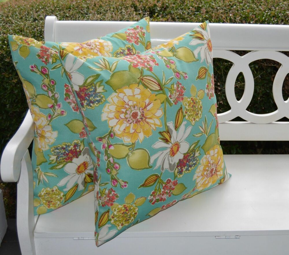 2 pack turquoise yellow floral decorative indoor outdoor throw pillow usa ebay. Black Bedroom Furniture Sets. Home Design Ideas