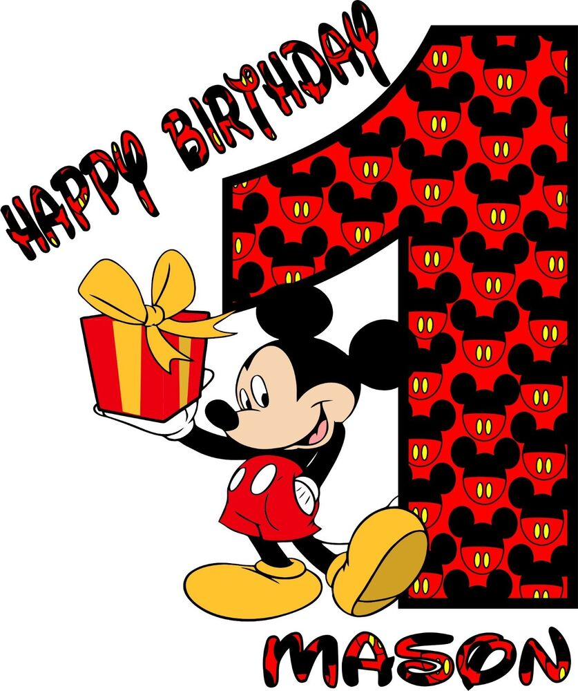mini mickeys name and happy birthday mickey mouse t shirt onesie 264 ebay. Black Bedroom Furniture Sets. Home Design Ideas