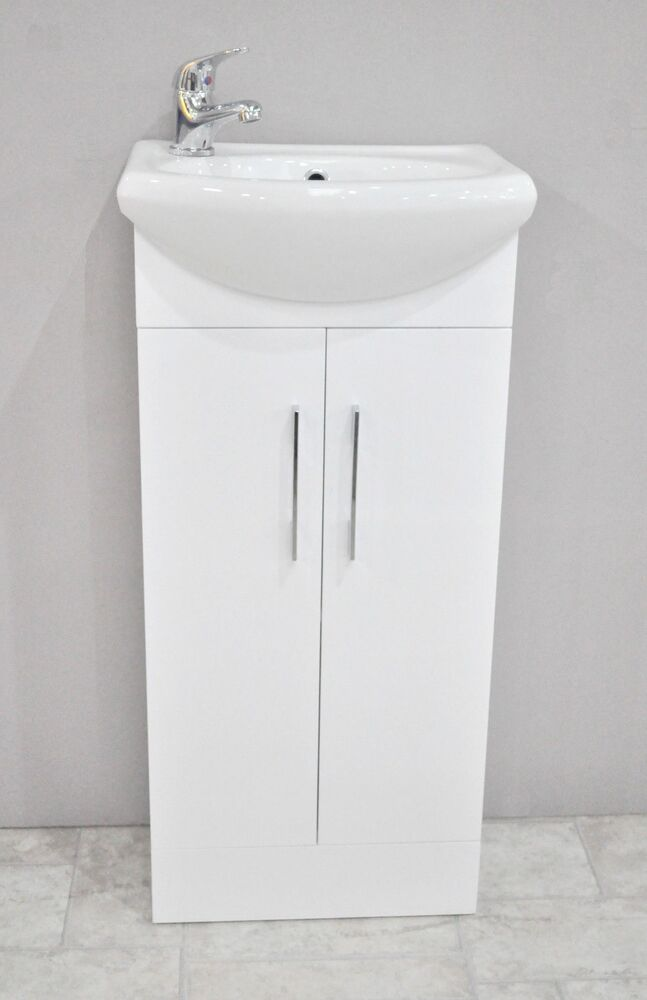 High gloss white small compact basin vanity unit bathroom for Bathroom cabinets 400mm high