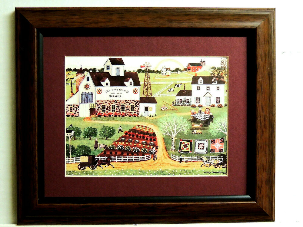 Folk Art Picture Primitive Country Barn Horse Carriage