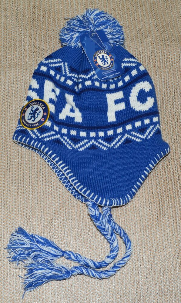 05c6afb7787 CHELSEA FC SOCCER PERUVIAN BEANIE NEW ! OFFICIAL SKULL CAP HAT WINTER