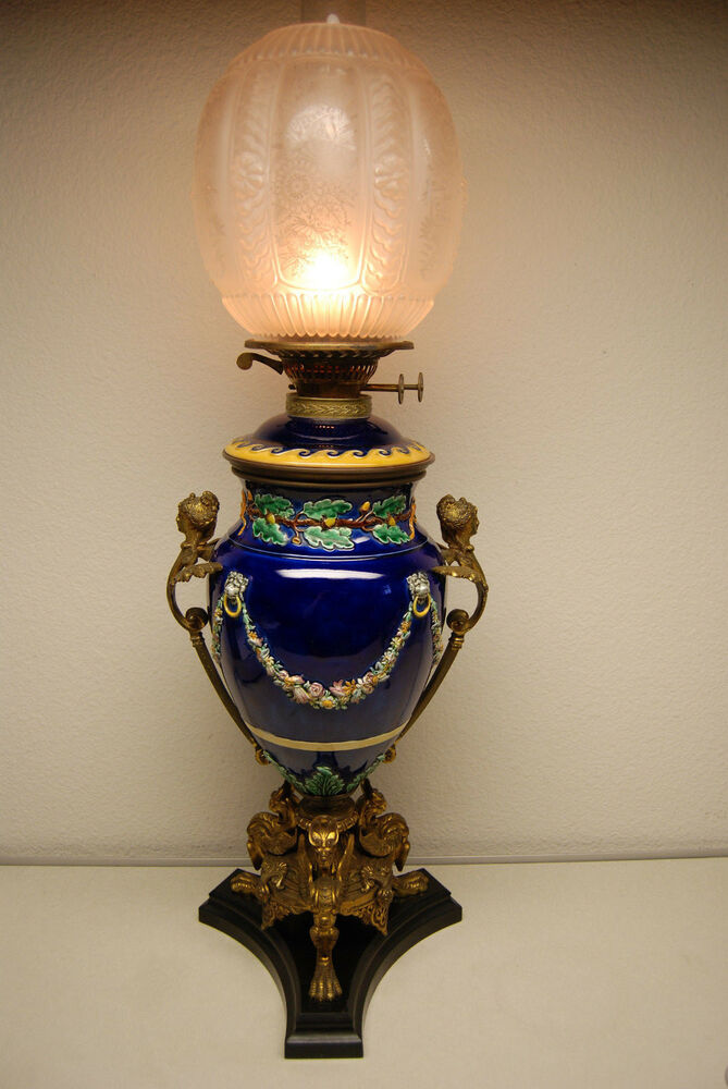 ANTIQUE KEROSENE OIL GWTW MAJOLICA PORCELAIN FRENCH NOUVEAU BRONZE ENGLISH LA