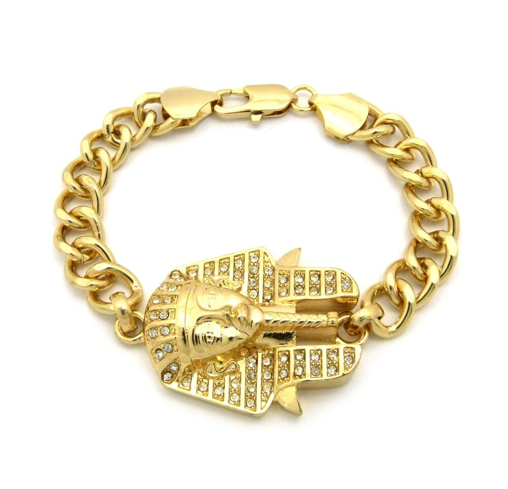 gold king tut pharaoh egyptian king charm chain bracelet. Black Bedroom Furniture Sets. Home Design Ideas
