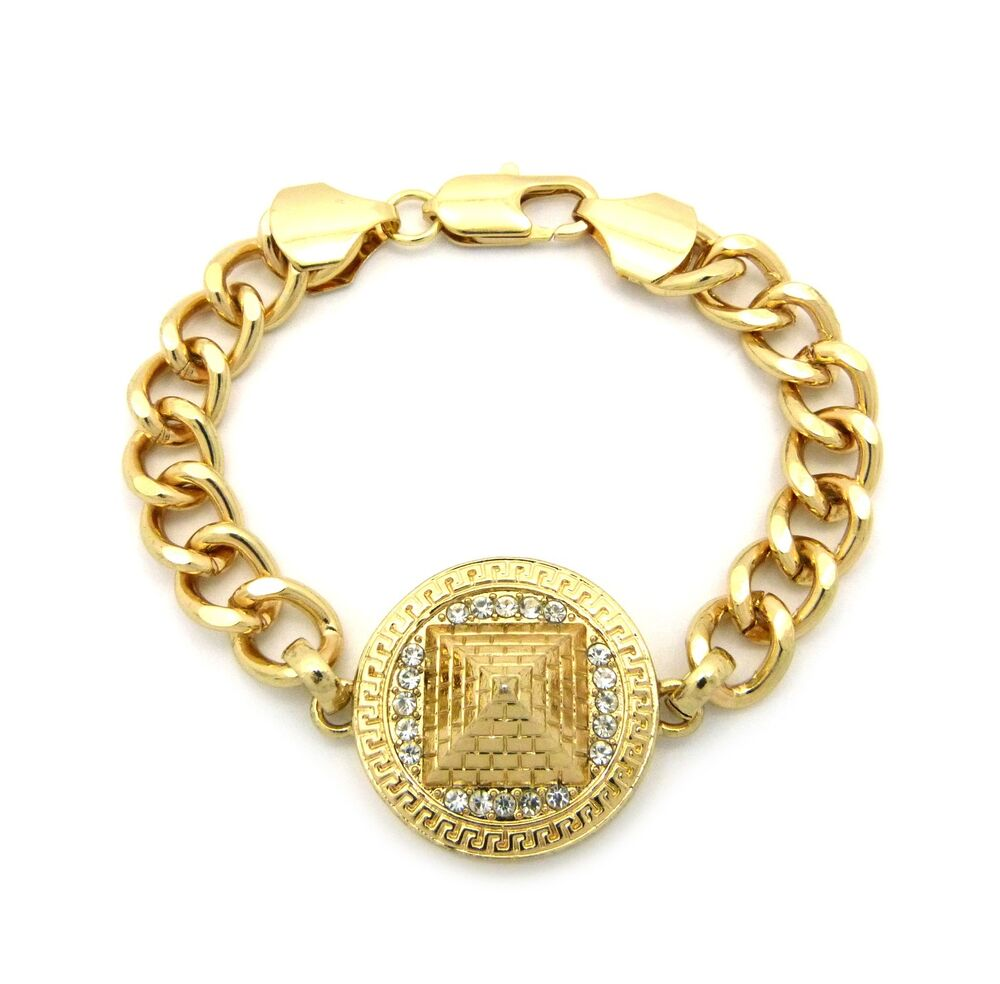 gold egyptian illuminati pyramid charm chain link bracelet. Black Bedroom Furniture Sets. Home Design Ideas