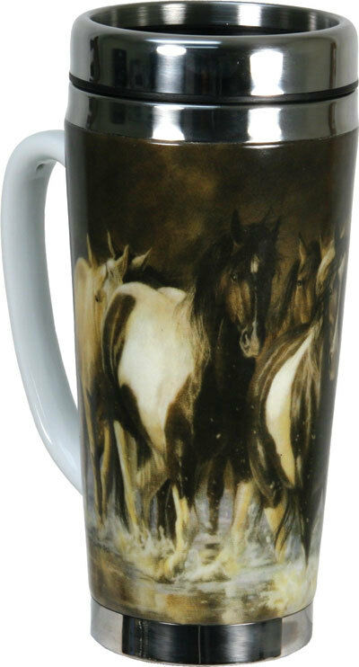 New Western Running Horses 16 Oz Ceramic Stainless Steel