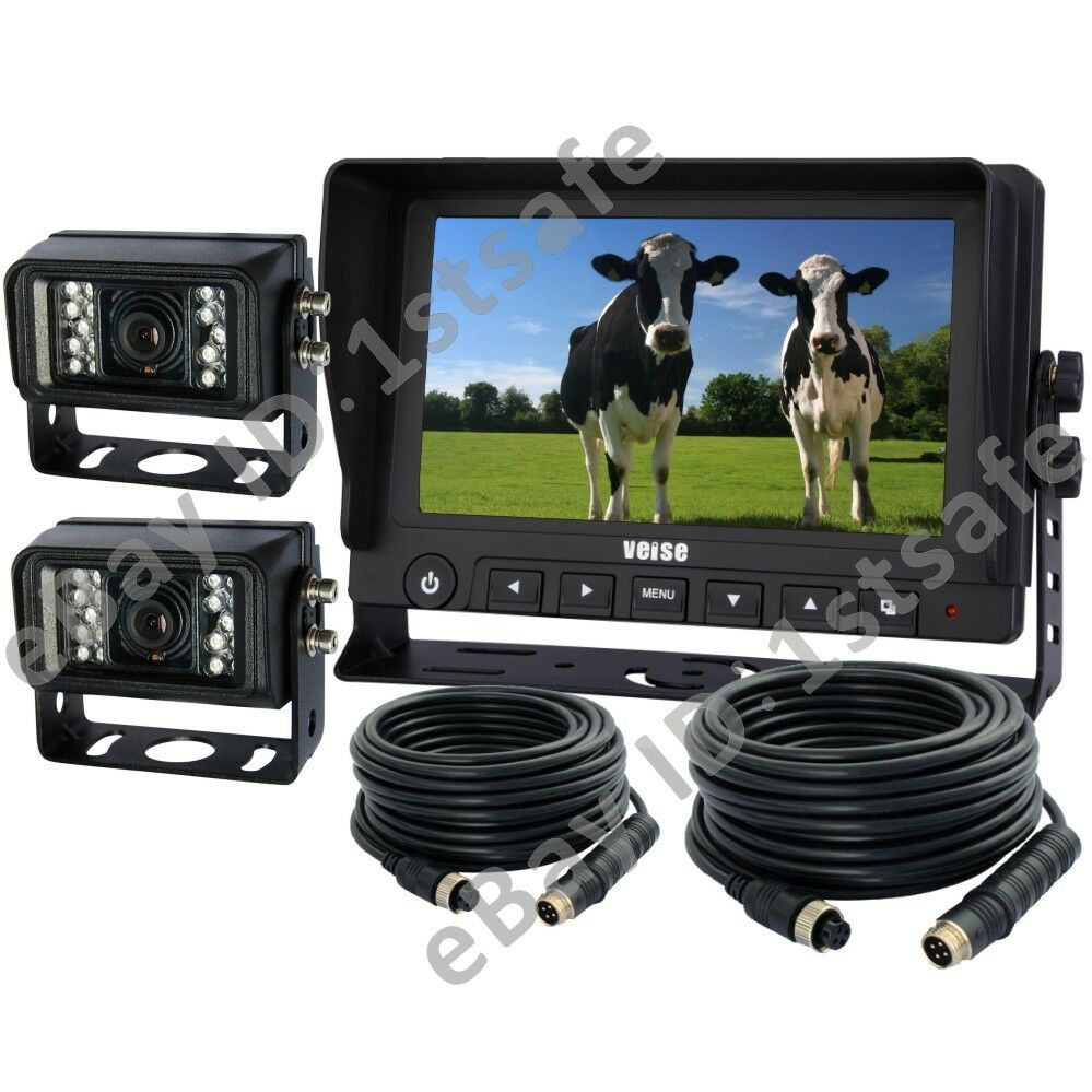 backup rear view camera system 7 lcd 2 cameras tractor. Black Bedroom Furniture Sets. Home Design Ideas