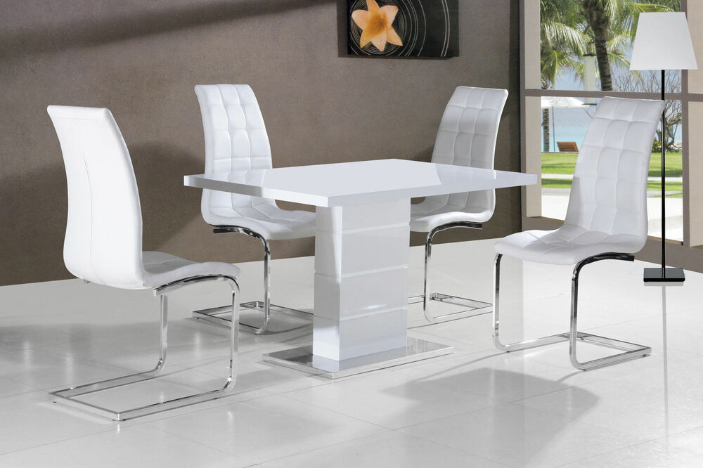 New stunning maxi white high gloss dining table dining for Black kitchen table set