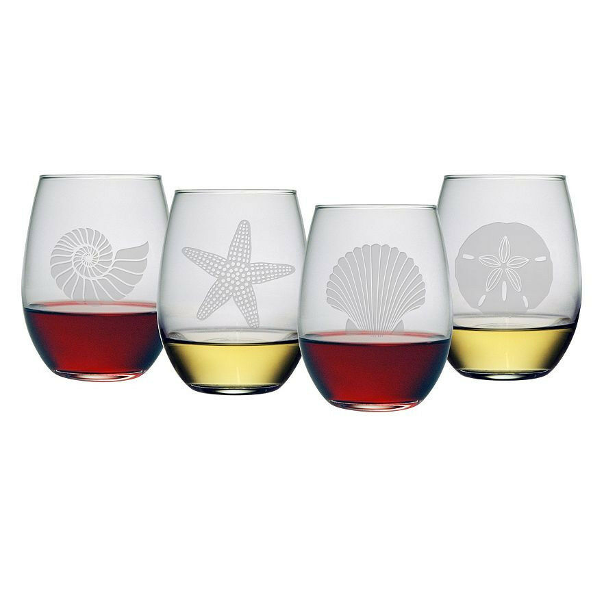 Stemless Wine Glasses Seashore Design Set 4 Hand Etched