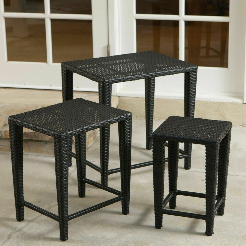 outdoor patio furniture 3pc black wicker nested side