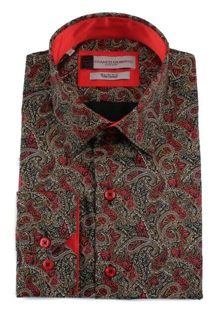 Mens 100 Cotton Red Antique Brown Paisley Print Italian