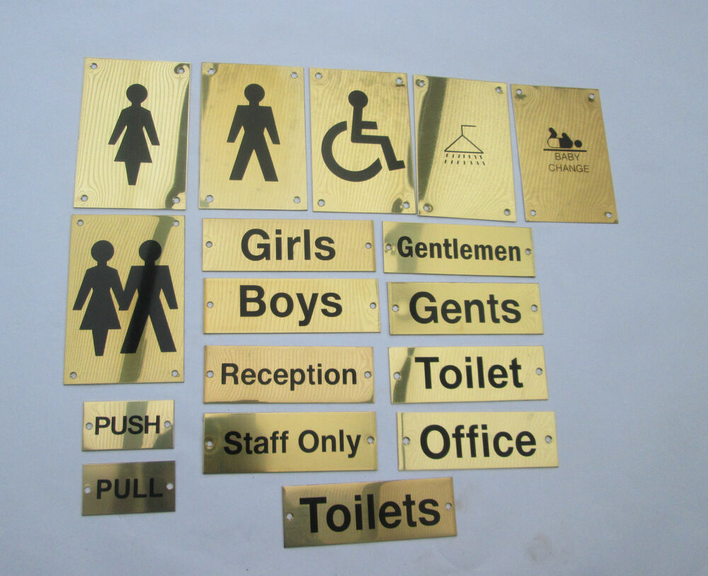 Brass Toilets Pub Shop Business Bathroom Door Signs Notice