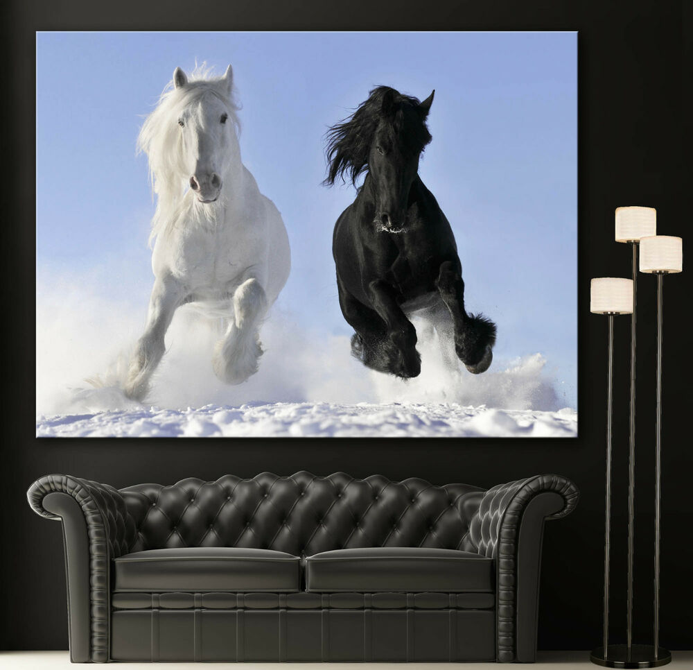 Wall art galloping horses canvas giclee print black white for Black and white mural prints