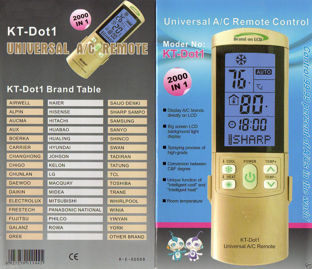 Universal a c remote control fits samsung panasonic for 1000 in 1 universal a c remote code table