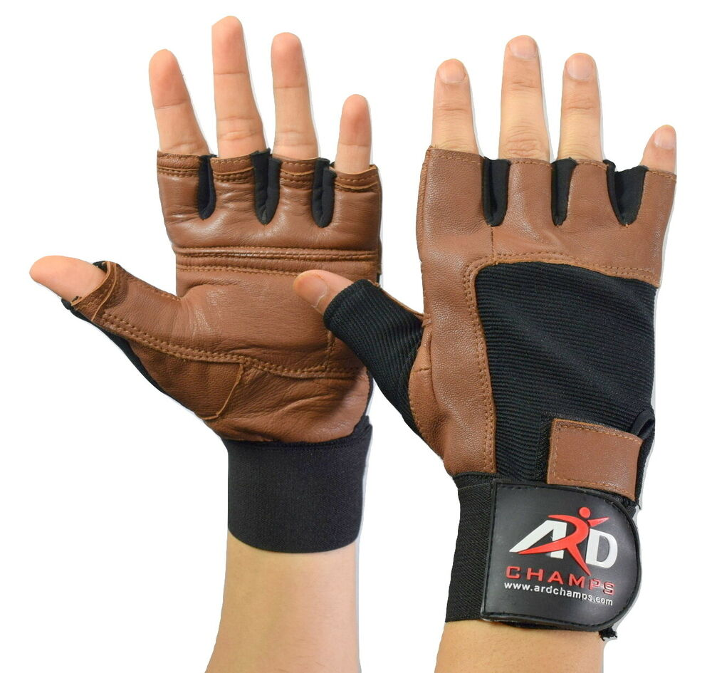 Weight Lifting Gloves With Wrap Around Wrist: Leather Weight Lifting Gloves Long Wrist Wrap Padded