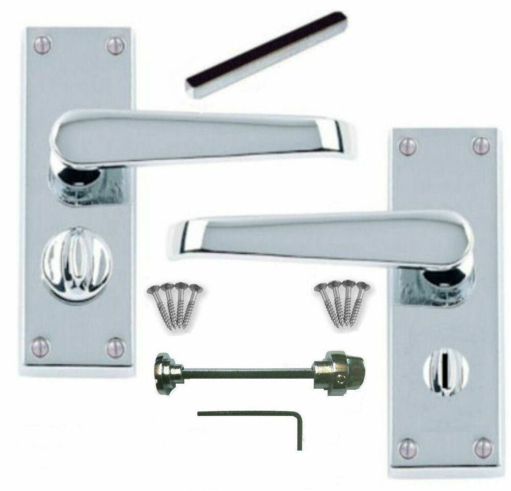 Polished Chrome Victorian Straight Privacy Lever Door