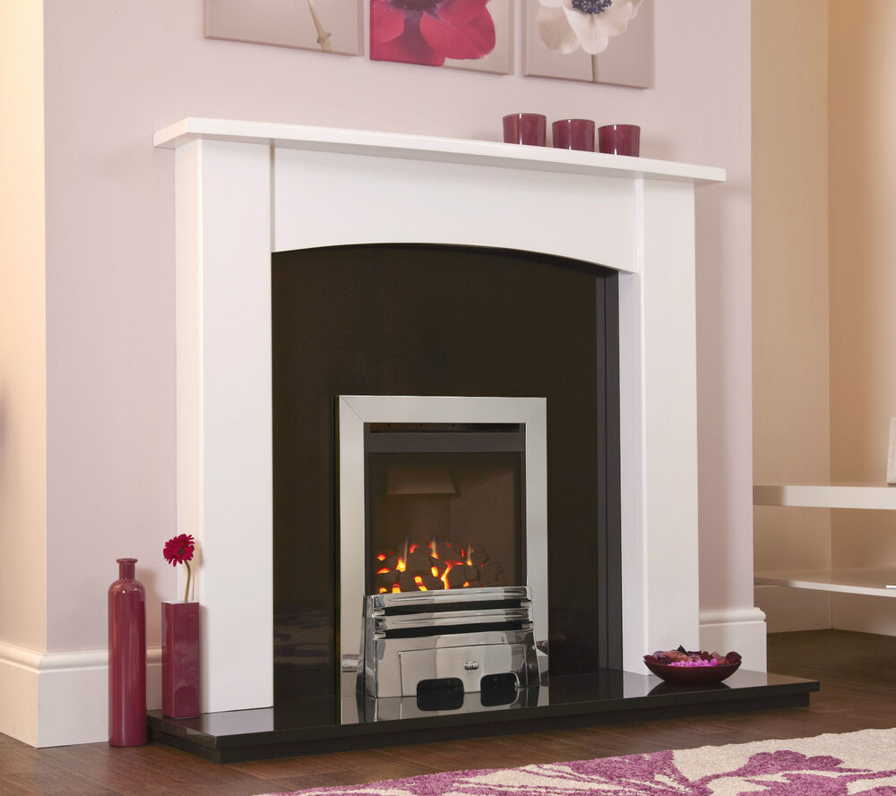 Gas white black chrome granite modern curved wall fire for Large modern fireplaces
