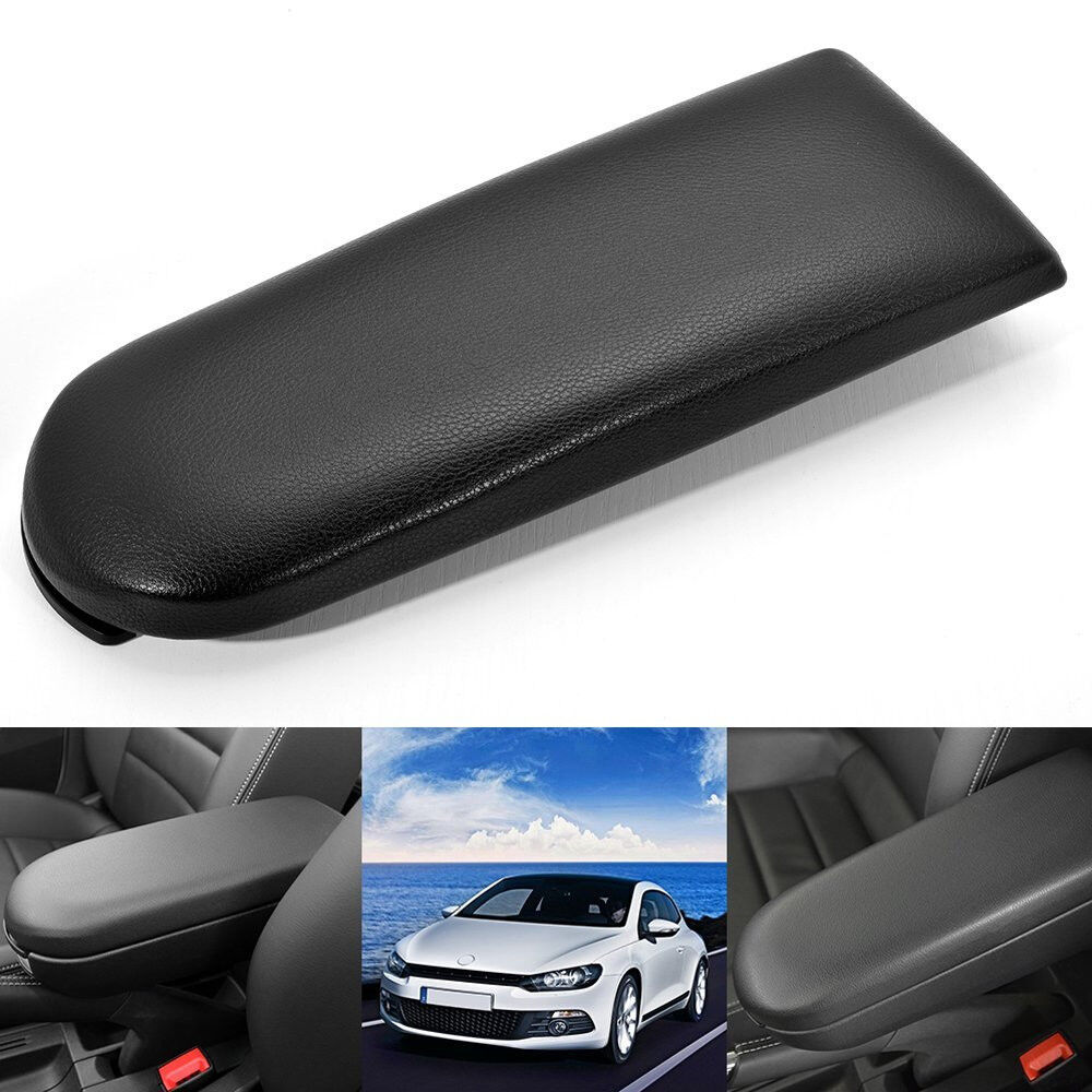 Black Leather Center Console Armrest Cover Lid For Vw