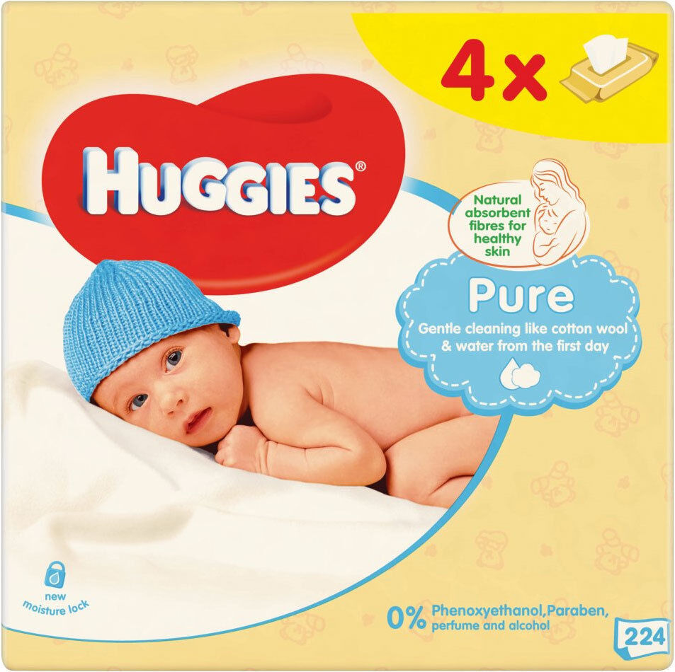 Huggies Pure Unscented Baby Wipes Multipack 4 X 64 Pack Ebay