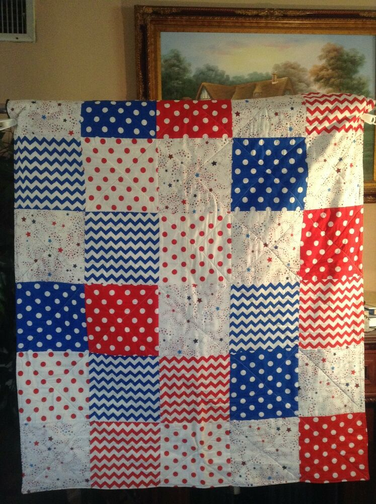 Free Quilt Patterns For Throws : Handmade Red,White and Blue Patchwork,Lap, Throw ,Quilt eBay