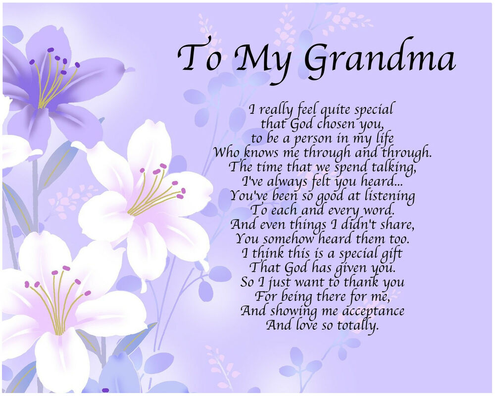Personalised to my grandma poem mothers day birthday for What to get grandma for mother s day