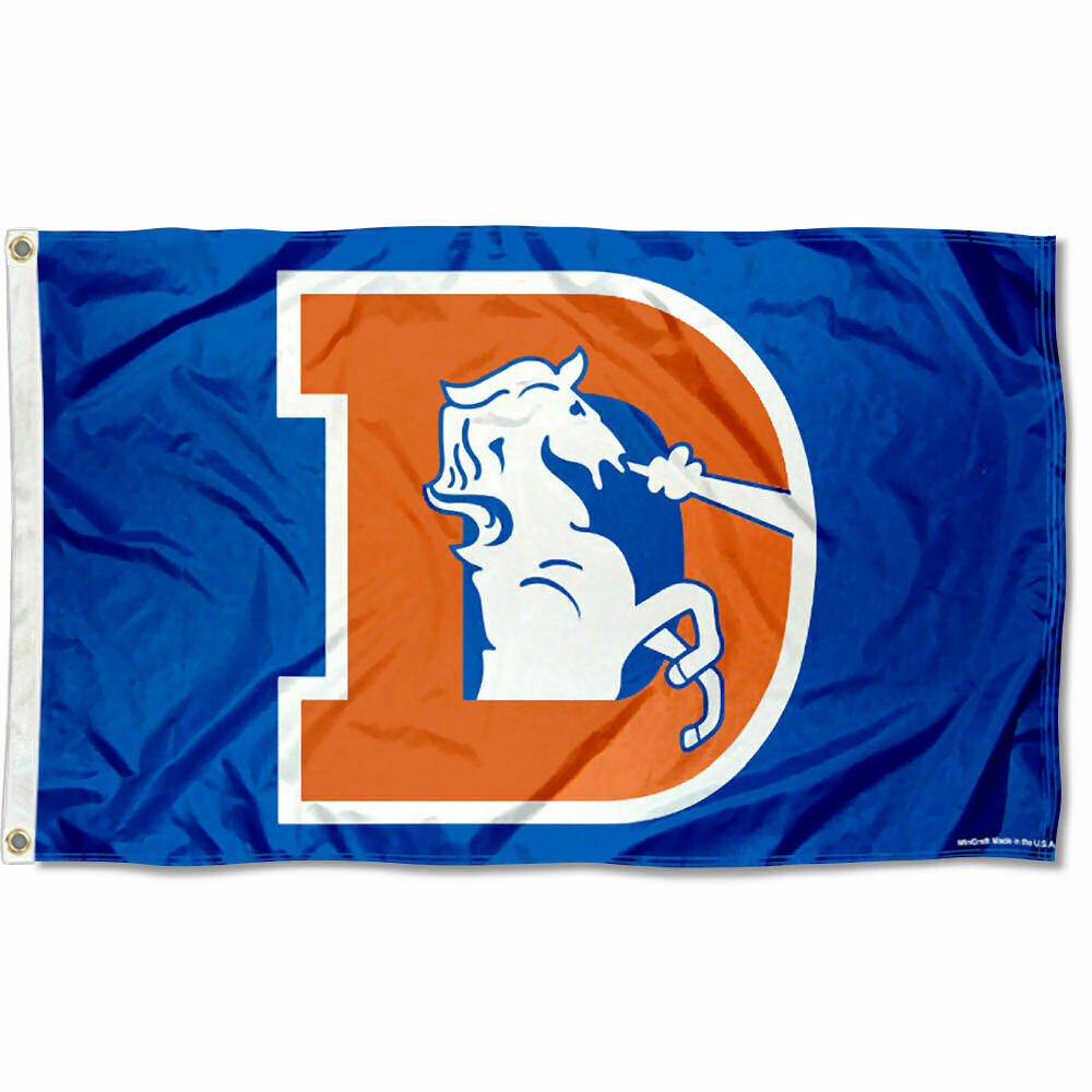 Denver Broncos Throwback Vintage Nfl Flag Tailgating