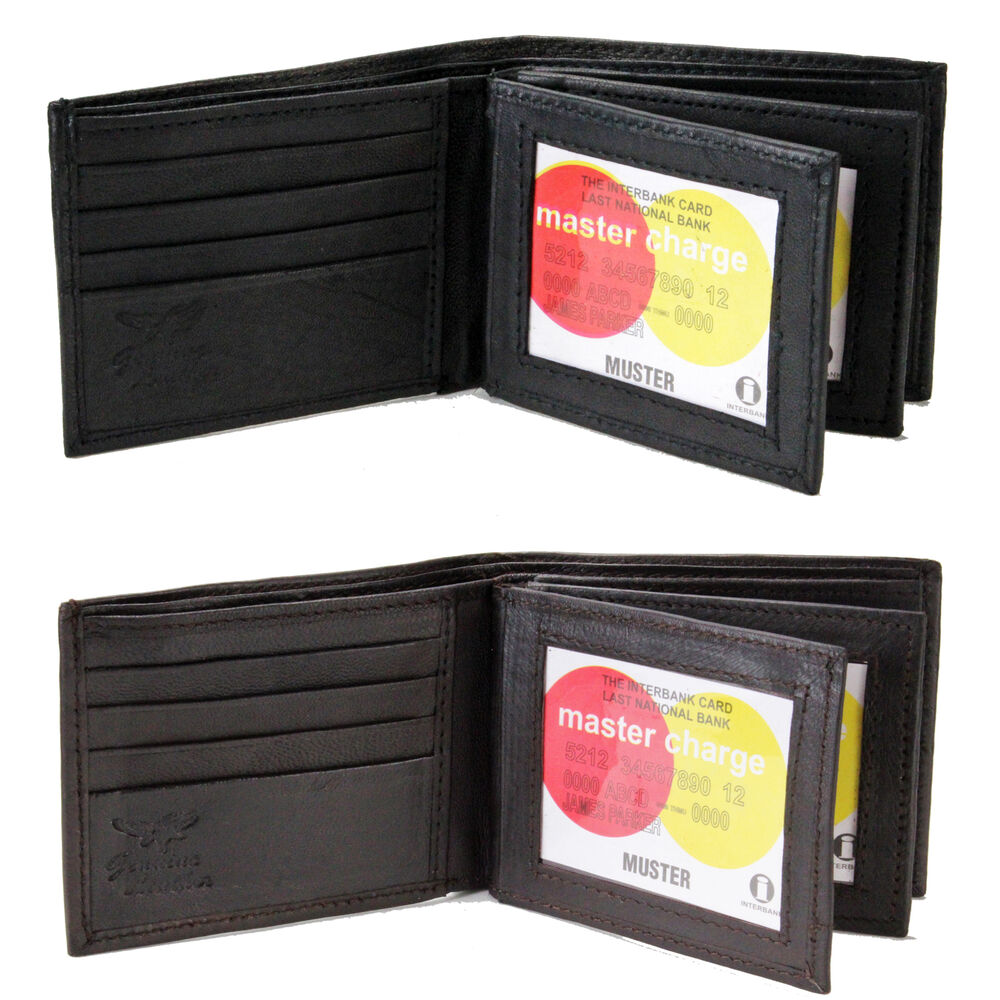 New mens bifold genuine leather 2 id card case multi for 2 id window wallet