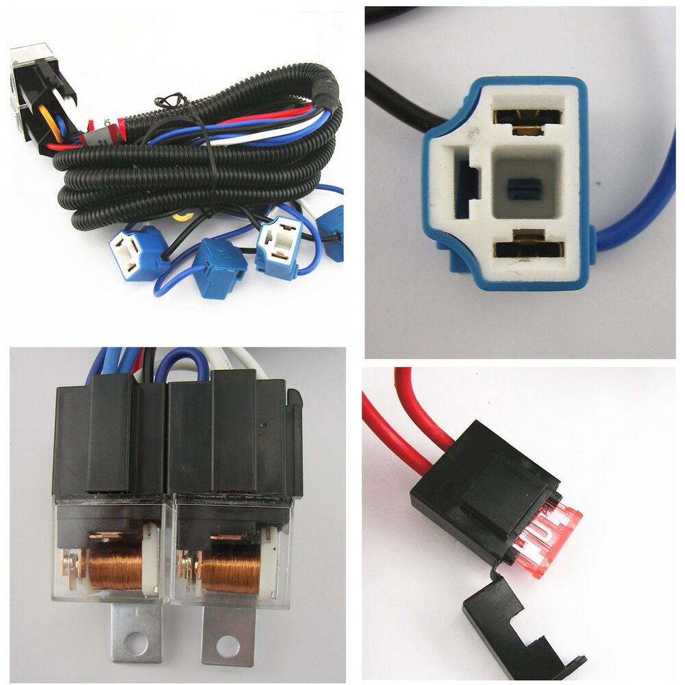 ceramic h4 headlight relay wiring harness 4 headlamp bulbs socket fix dim light ebay. Black Bedroom Furniture Sets. Home Design Ideas