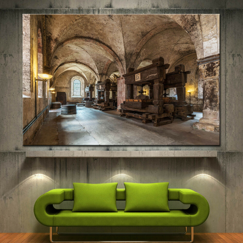 Wall art canvas print wine old winery cellar barrels for Wine shop decoration