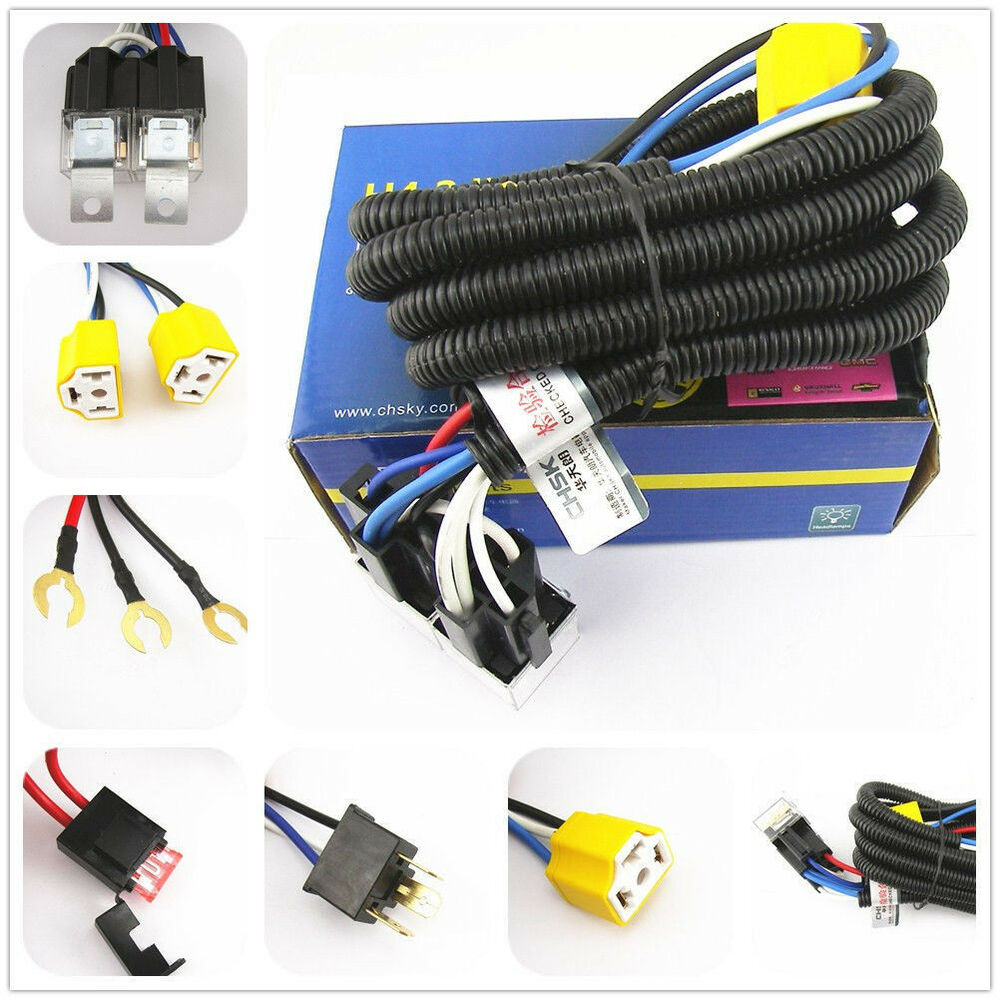 Ceramic H4 Headlight Relay Wiring Harness 2 Headlamp Light