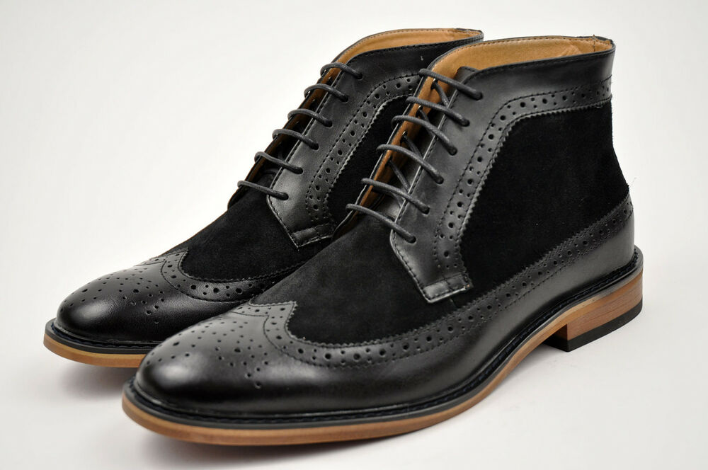 La Milano Mens Black Genuine Leather Dress Boots Shoes Lace Up Wing