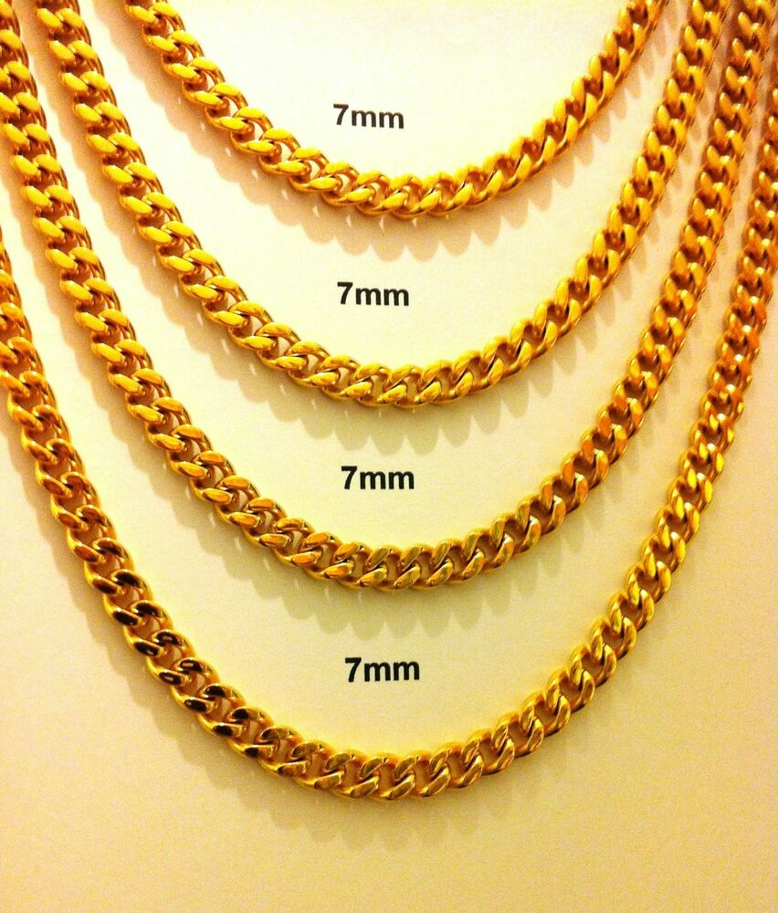 Gold Plated Stainless Steel Men S Women S Cuban Link 7mm