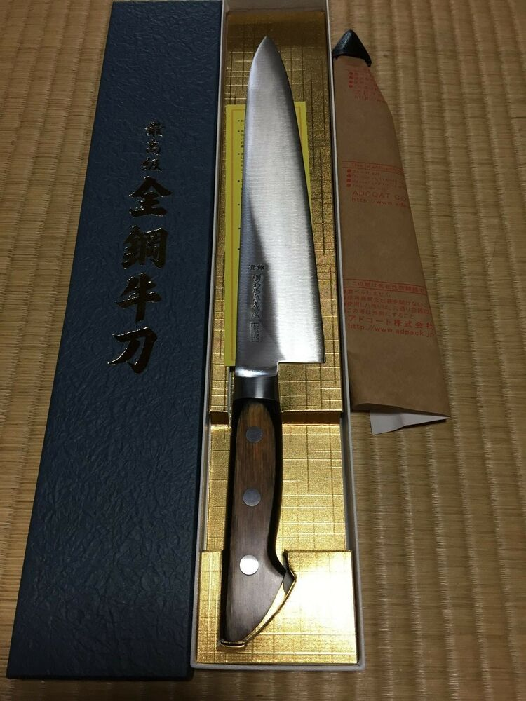 japanese high carbon chef 39 s knife 240mm steel made in sakai japan ebay. Black Bedroom Furniture Sets. Home Design Ideas