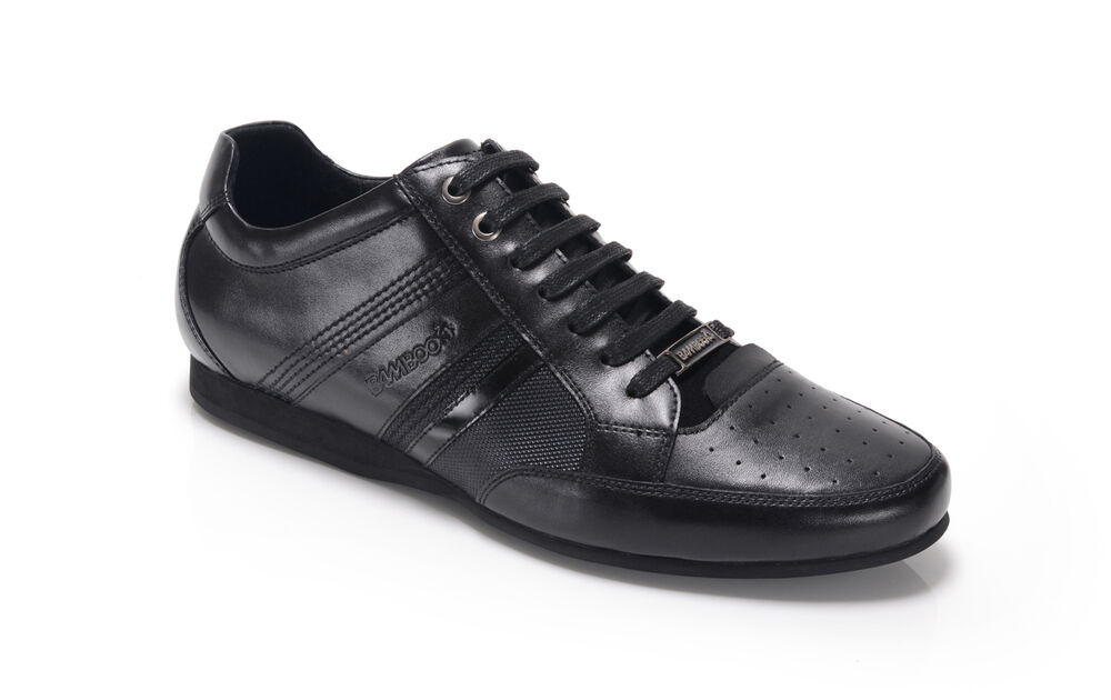 c1b71b4ab82a Bambooa Asti Black Leather Mens Designer Casual Shoes Trainers New RRP £85