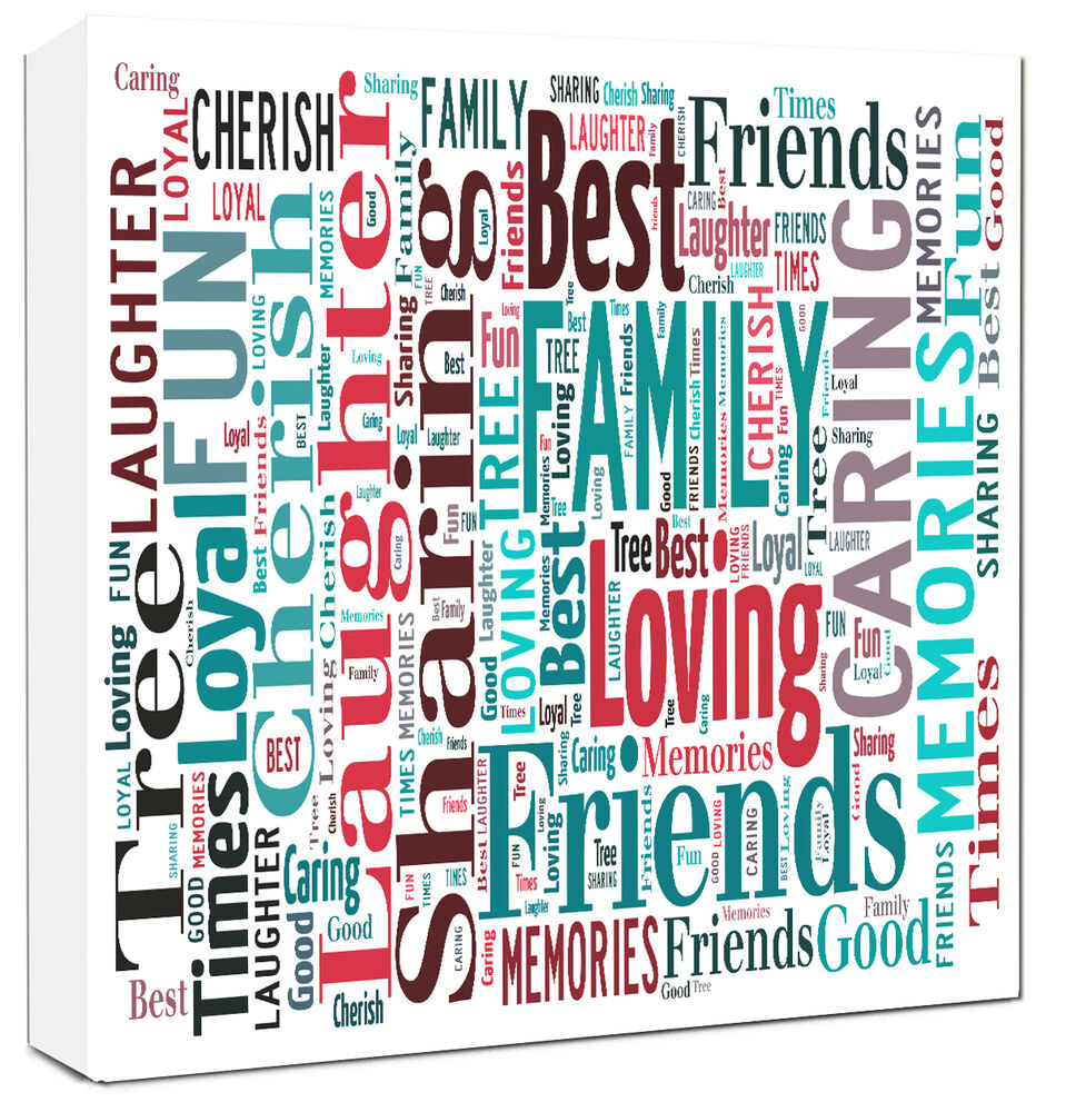 word art canvas personalised family canvas gift word typography canvas ebay