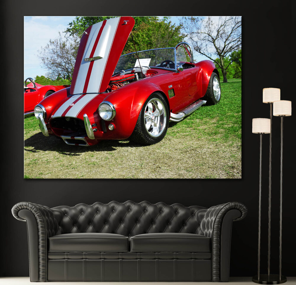1960s Car Canvas Wall Art Prints Red Shelby Ac Cobra Photo