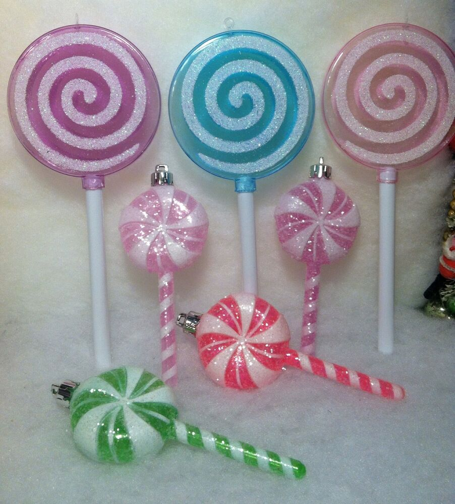 7 Lollipop Candy Christmas Tree Ornaments Pink, Purple ...