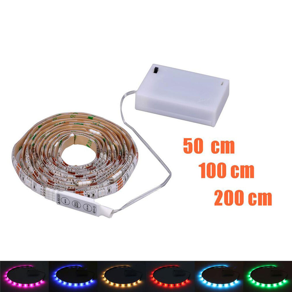 led rgb strip leiste 4 5v batteriehalter m mini controller batteriebetrieben ebay. Black Bedroom Furniture Sets. Home Design Ideas